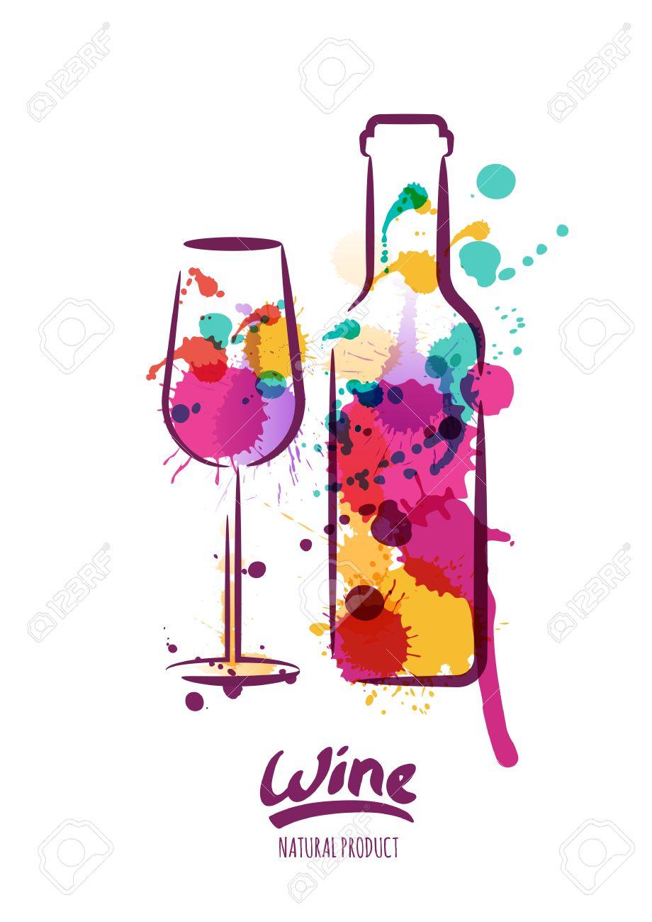 Connu Illustration D'aquarelle De Bouteille De Vin Coloré Et Verre De  XI13