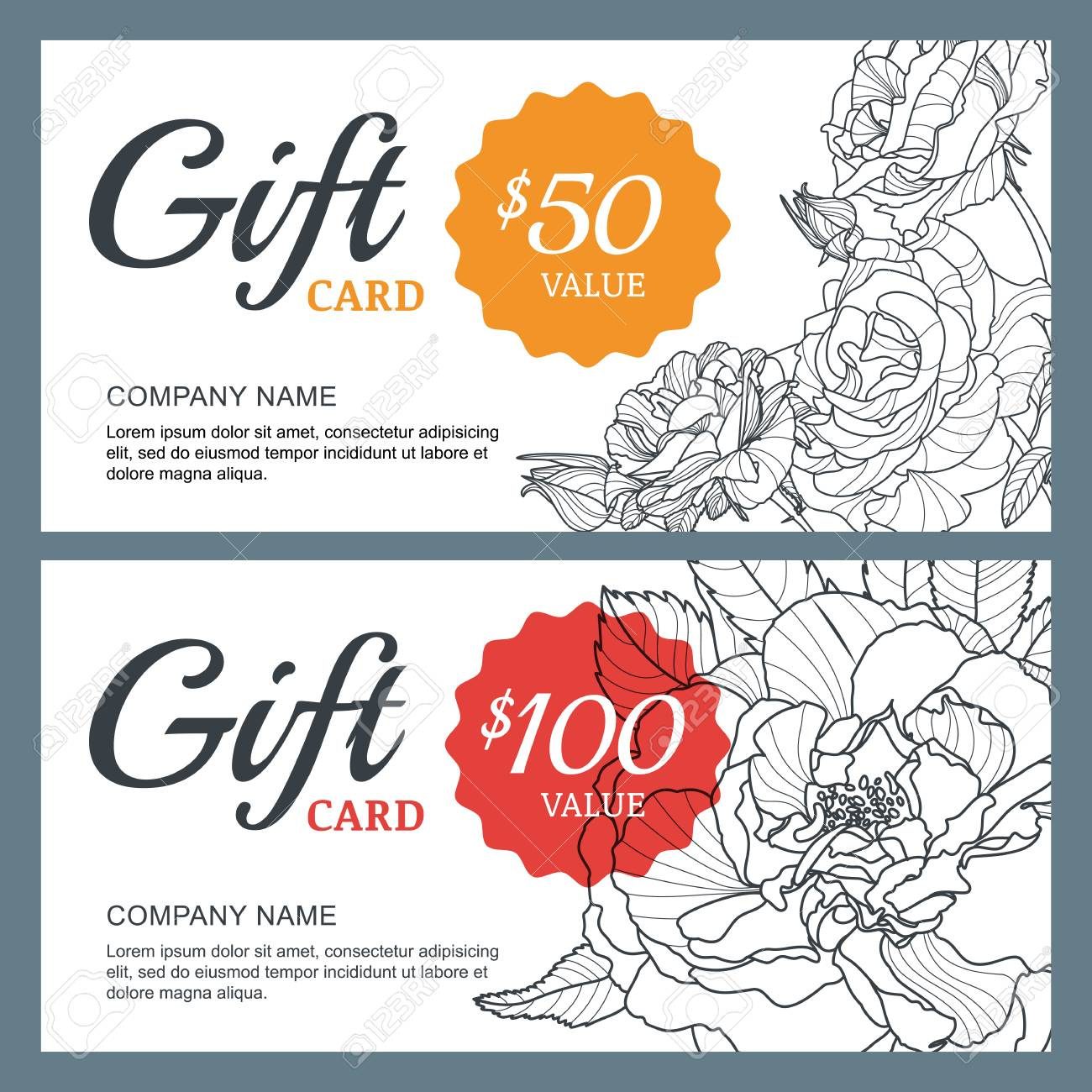 Vector gift voucher template with roses flowers royalty free vector gift voucher template with roses flowers stock vector 57971537 yadclub Images