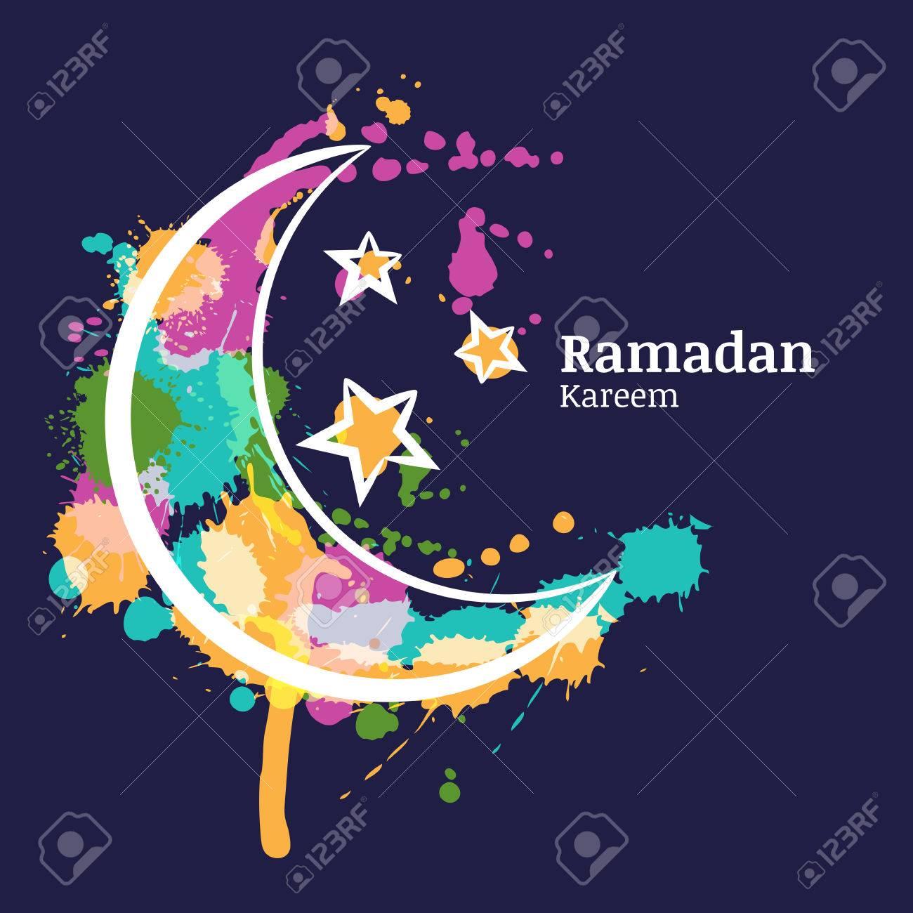 Ramadan greeting card with watercolor decorative moon and stars ramadan greeting card with watercolor decorative moon and stars on blue night sky ramadan kareem m4hsunfo