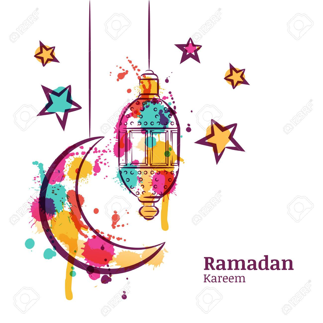 Ramadan Greeting Card With Traditional Watercolor Lantern Moon And Stars Kareem Decoration