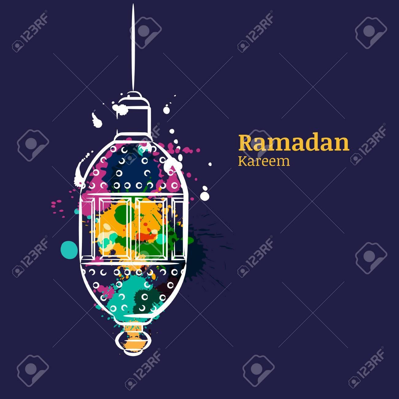 Ramadan greeting card with traditional watercolor night lantern ramadan greeting card with traditional watercolor night lantern ramadan kareem watercolor dark blue background m4hsunfo