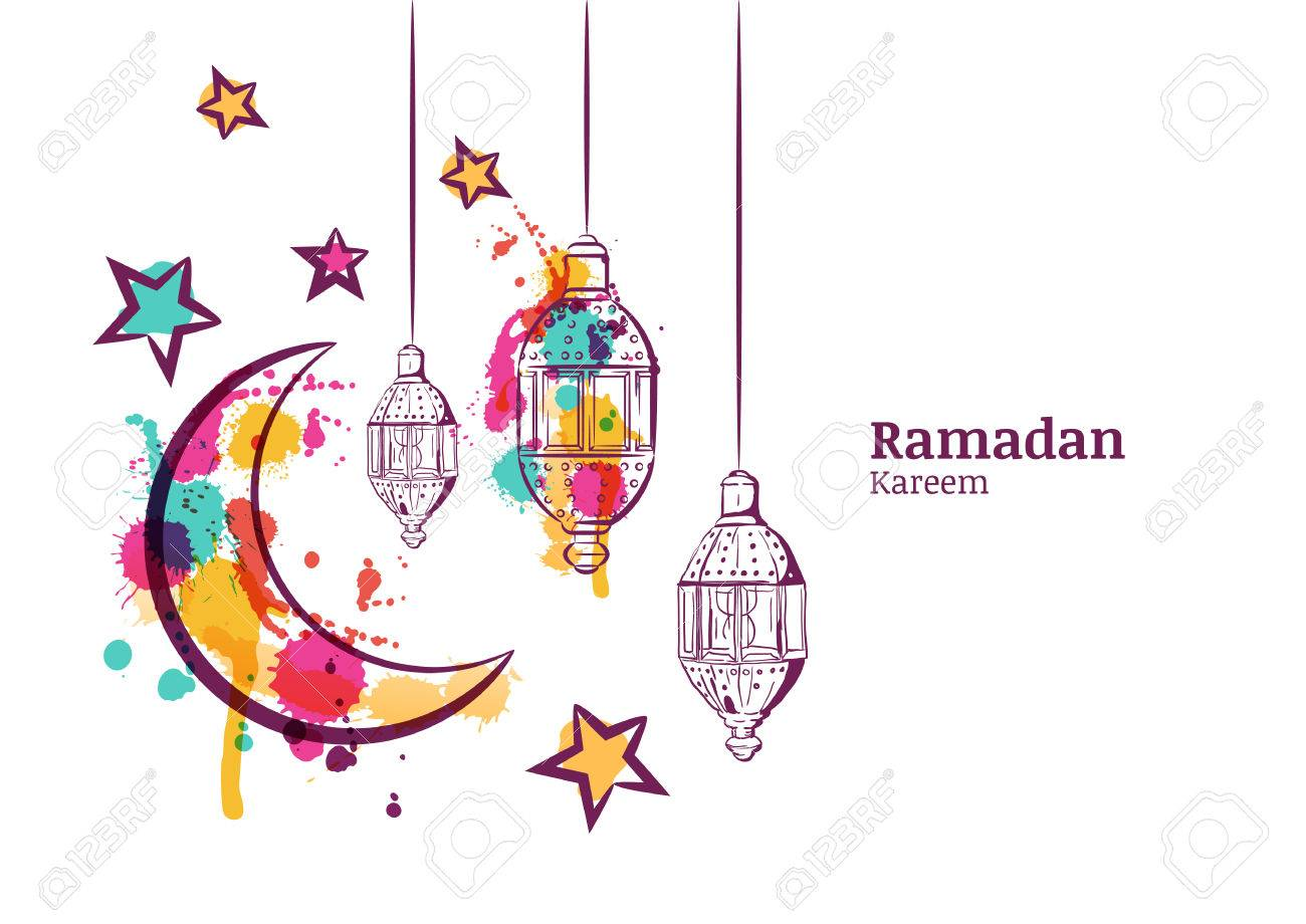 Ramadan greeting card or banner horizontal background traditional watercolor lanterns moon and stars