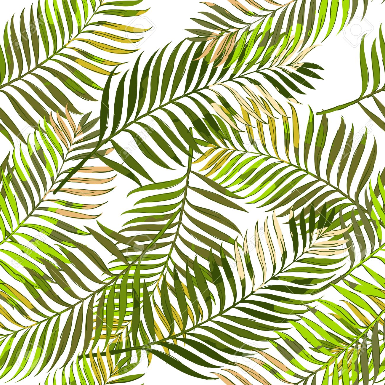Vector Patrón Transparente De Verano Con Hojas De Palma. Dibujado ...