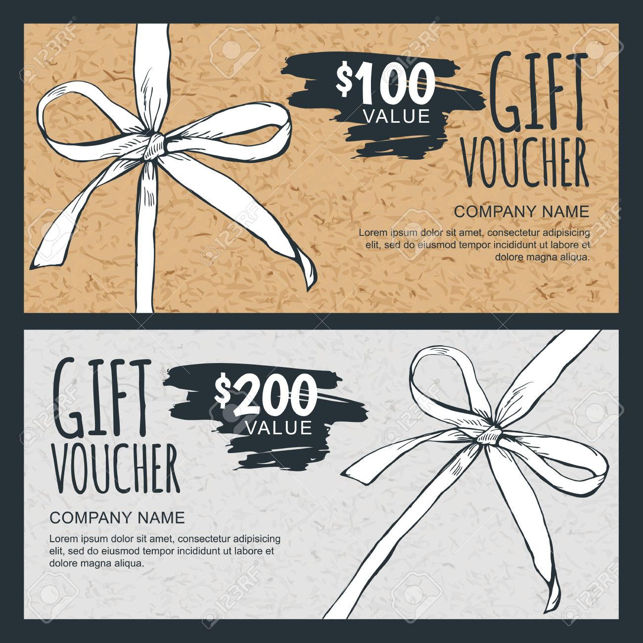 vector gift voucher template hand drawn bow ribbon and craft vector vector gift voucher template hand drawn bow ribbon and craft paper texture vintage cardboard holiday cards design concept for gift coupon