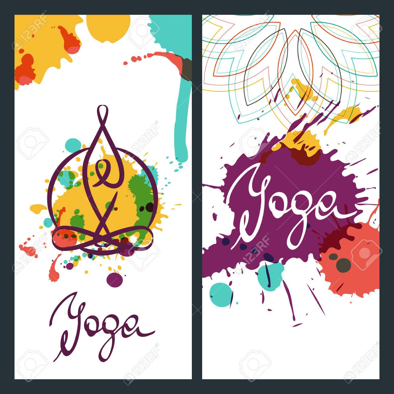 Yoga Backgrounds Logo And Lettering Vector Design Elements For Banner Poster