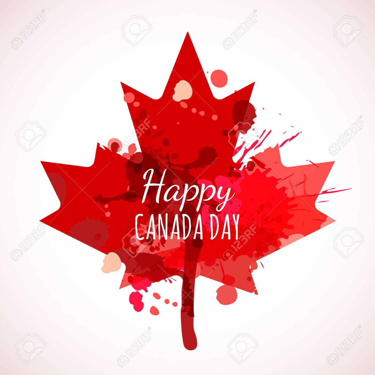 happy canada day watercolor background holiday poster with red
