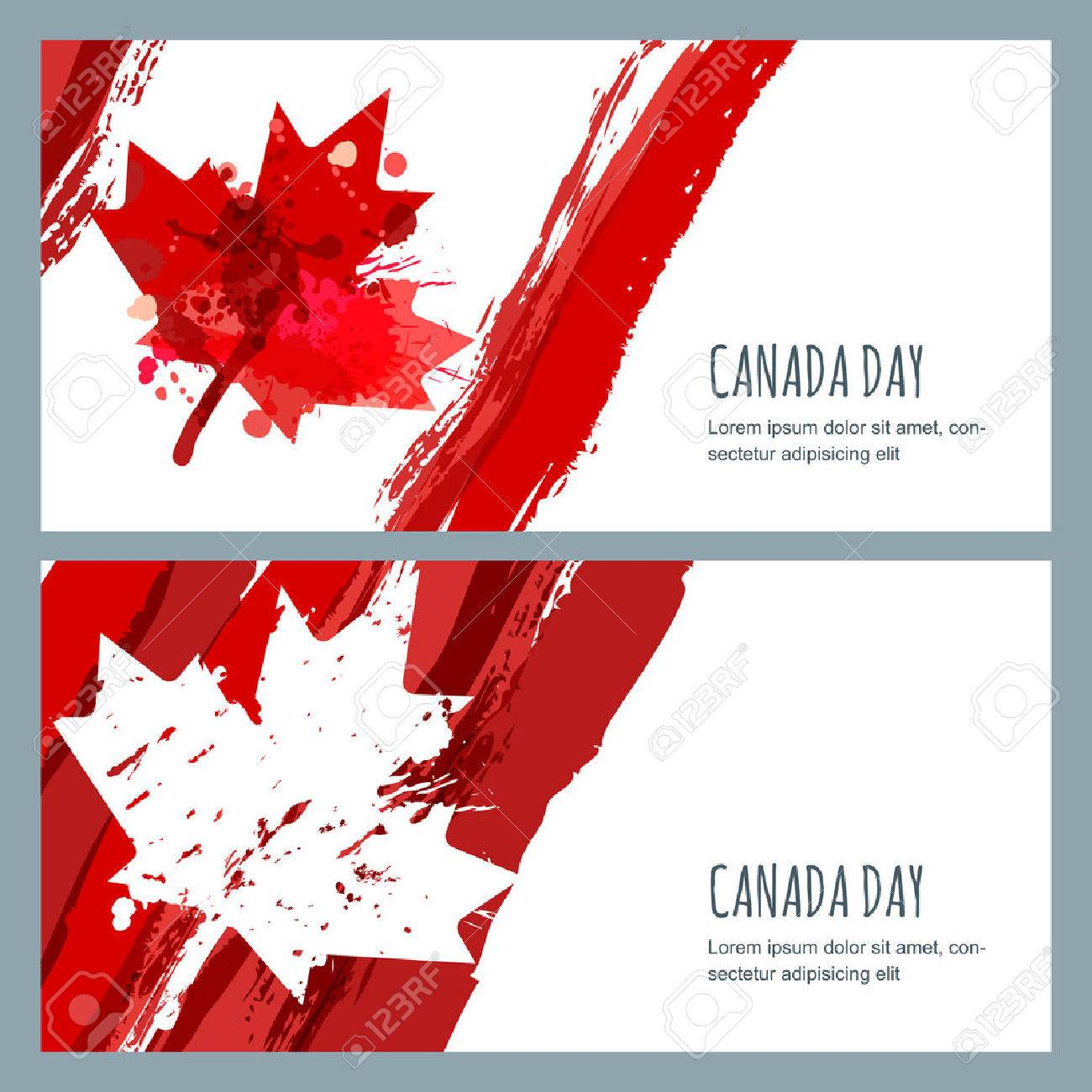 watercolor banners and backgrounds 1st of july happy canada