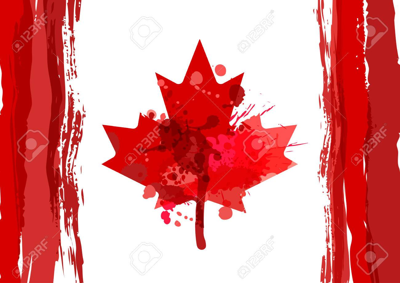 holiday poster with watercolor canada maple leaf happy canada