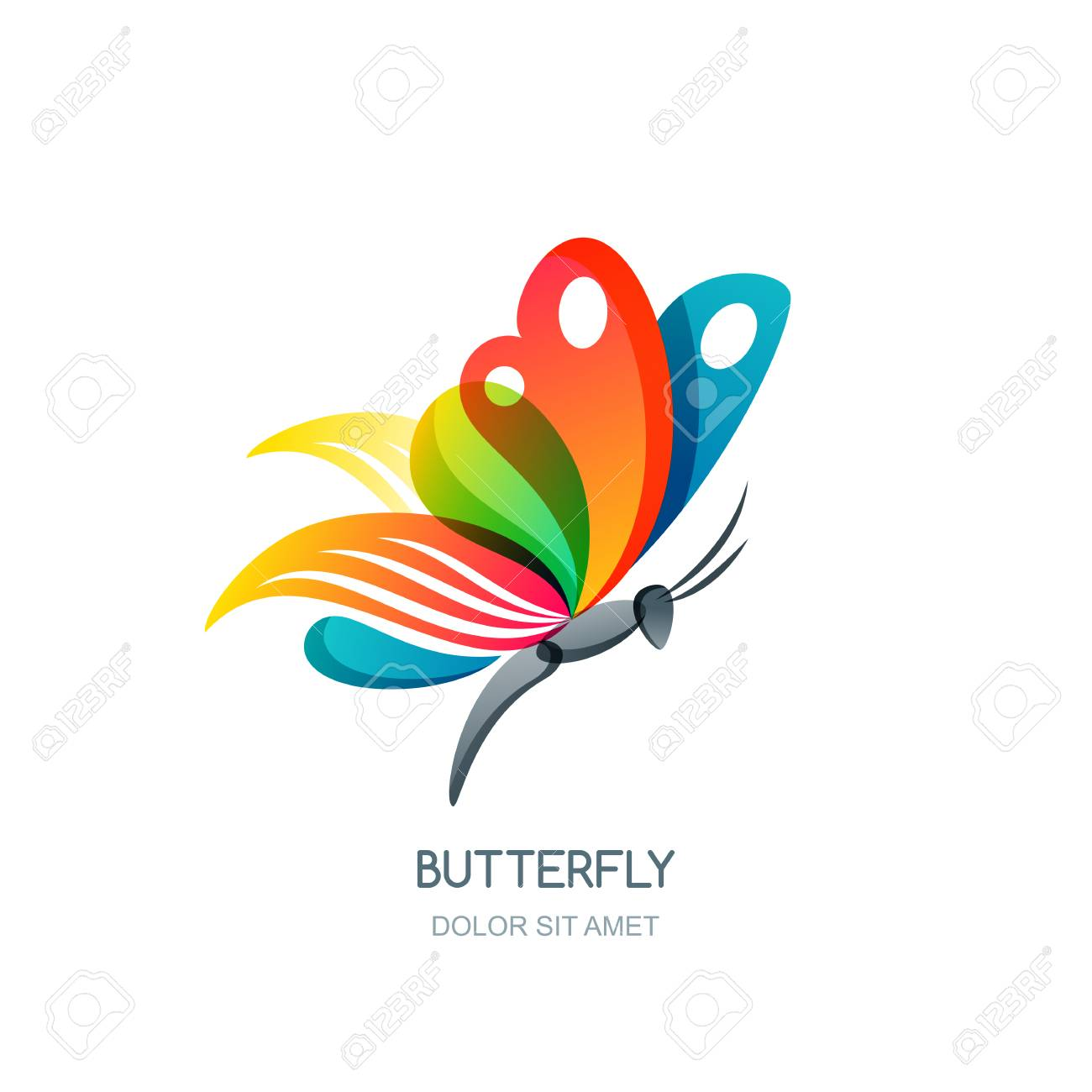 Isolated illustration of colorful abstract butterfly creative isolated illustration of colorful abstract butterfly creative design element butterfly symbol concept for biocorpaavc Images