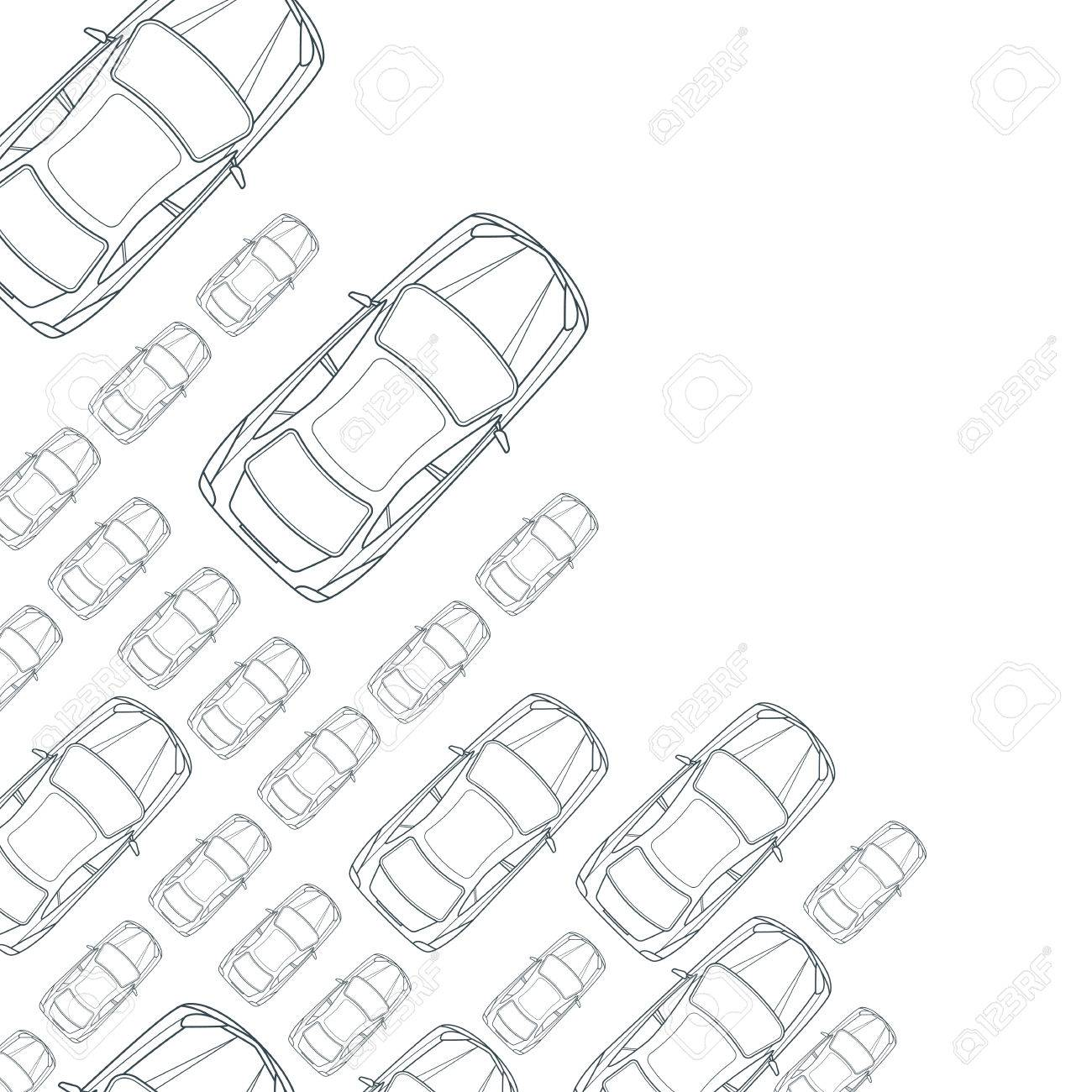 Vector Monochrome Background With Outline Cars Top View Isolated Line Car Icons Street Traffic