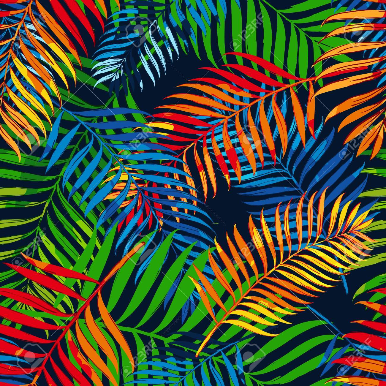 Vector summer seamless pattern with color palm leaves  Design