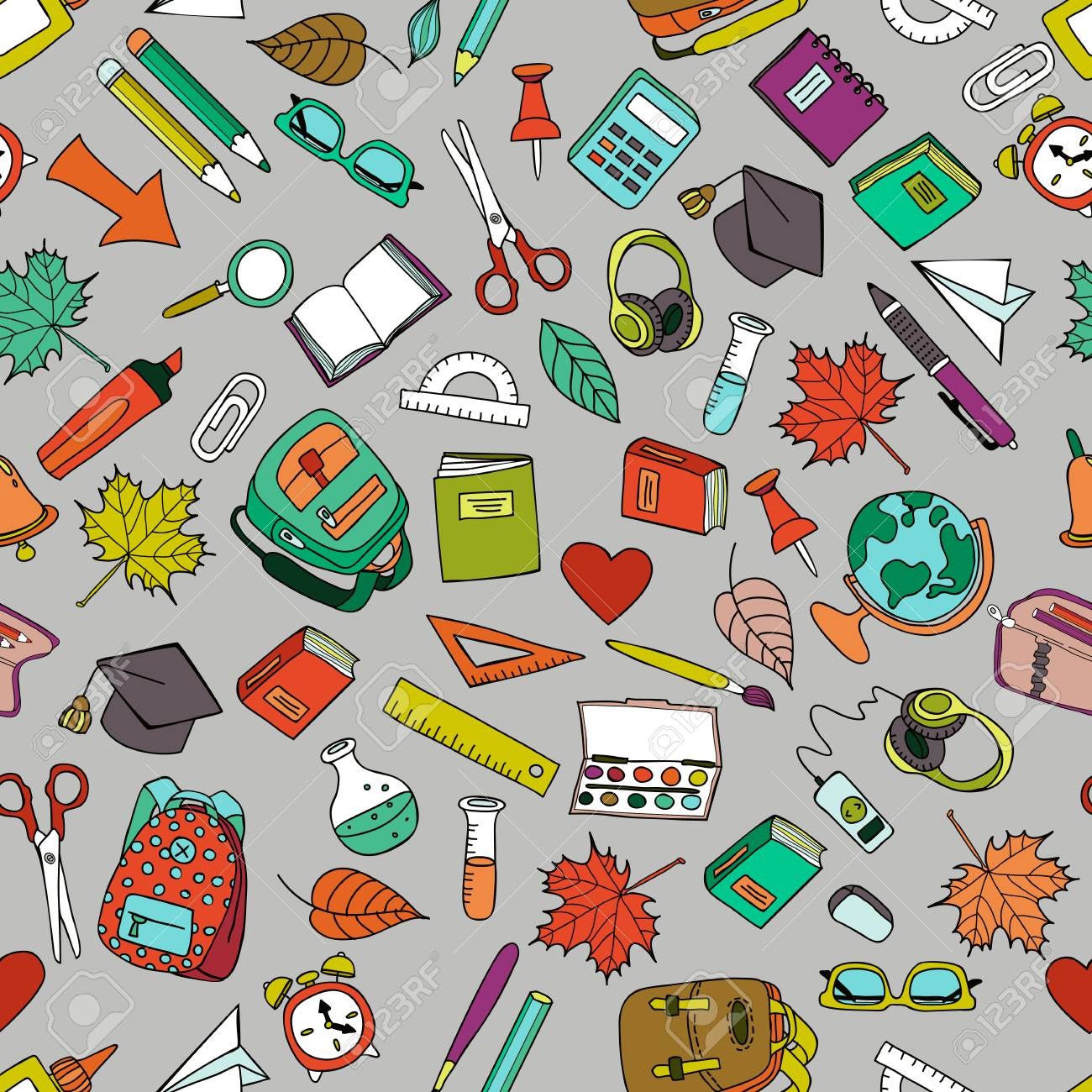 Vector Multicolor Seamless Pattern With Doodle School Tools ...