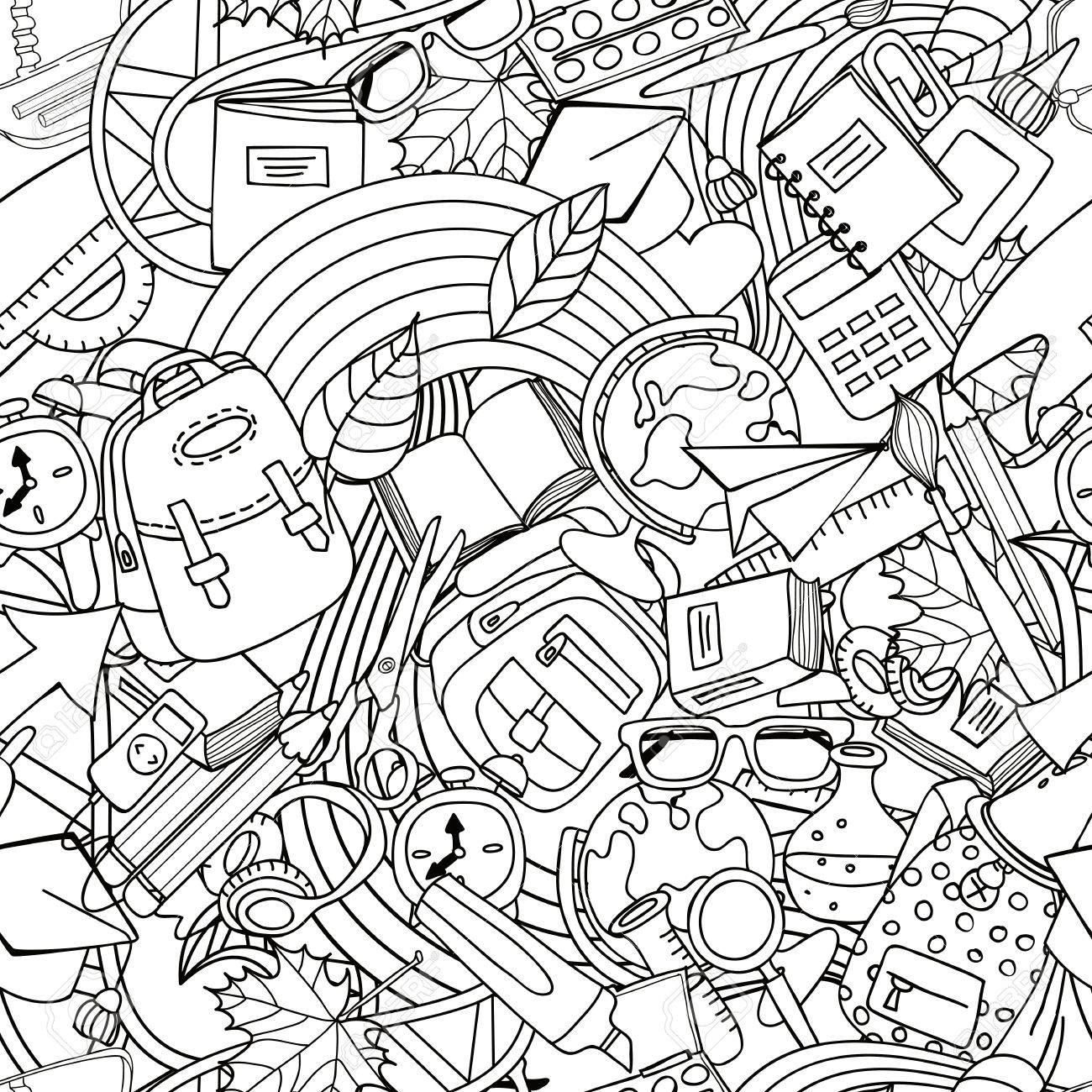 Vector seamless art seamless pattern. Éducation de doodle monochrome et  fournitures scolaires. Conception pour l'impression textile de mode, papier  ...