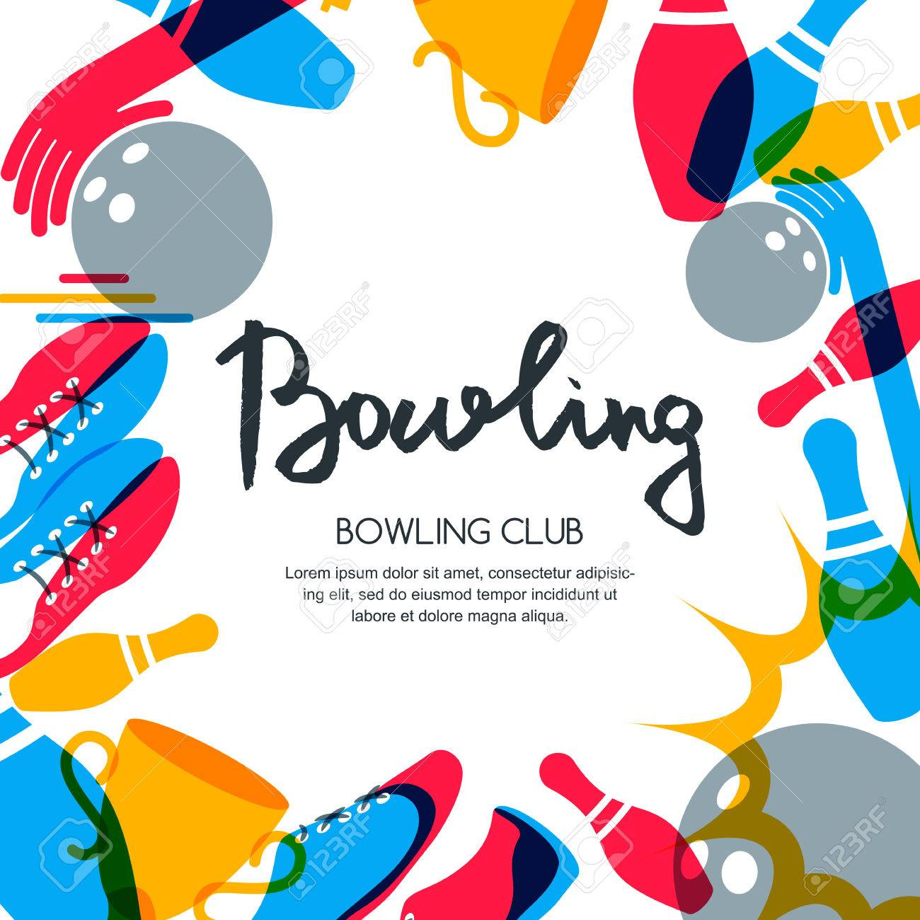 Vector Bowling Square Banner, Poster Or Flyer Design Template ...