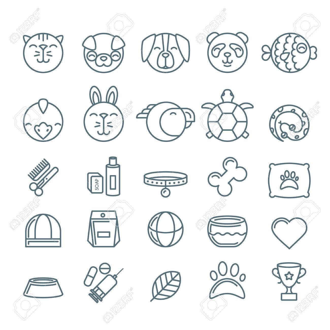 vector outline pet shop zoo or veterinary icons set linear