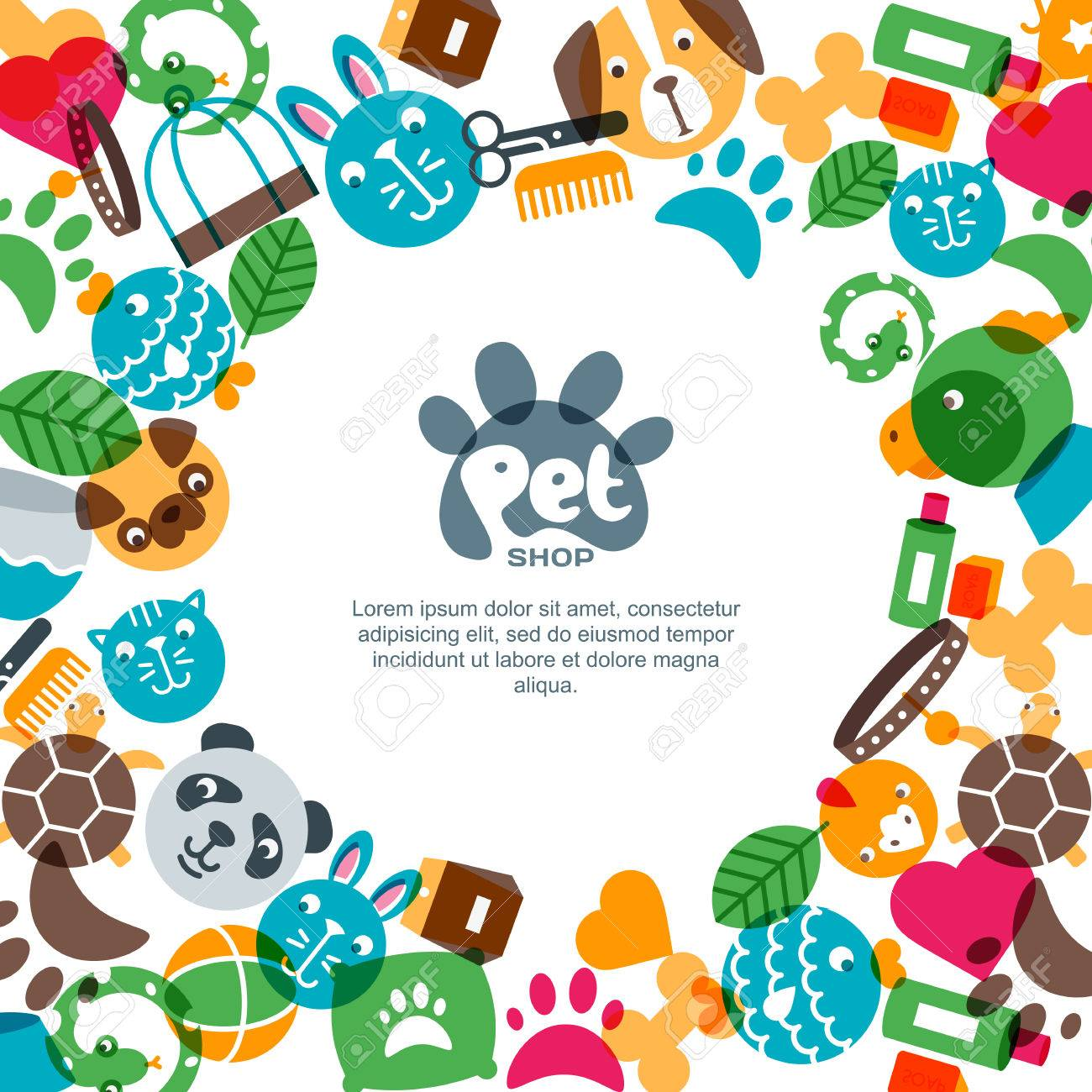 pet shop zoo or veterinary square banner poster or flyer design