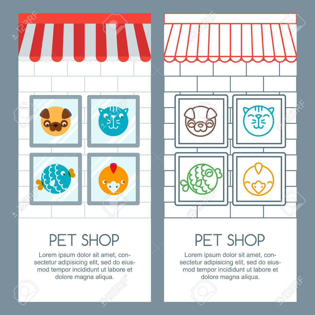 Pet Shop Pets Care Veterinary Concept Vector Banner Poster