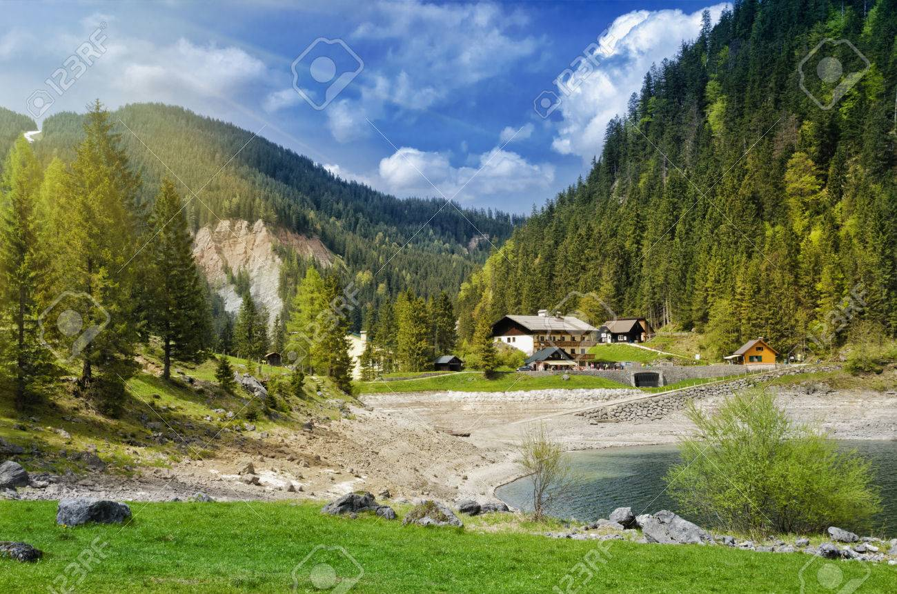 Beautiful View Of Alpine Lake Gosausee Traditional Austrian Houses In Alps Mountains Salzkammergut