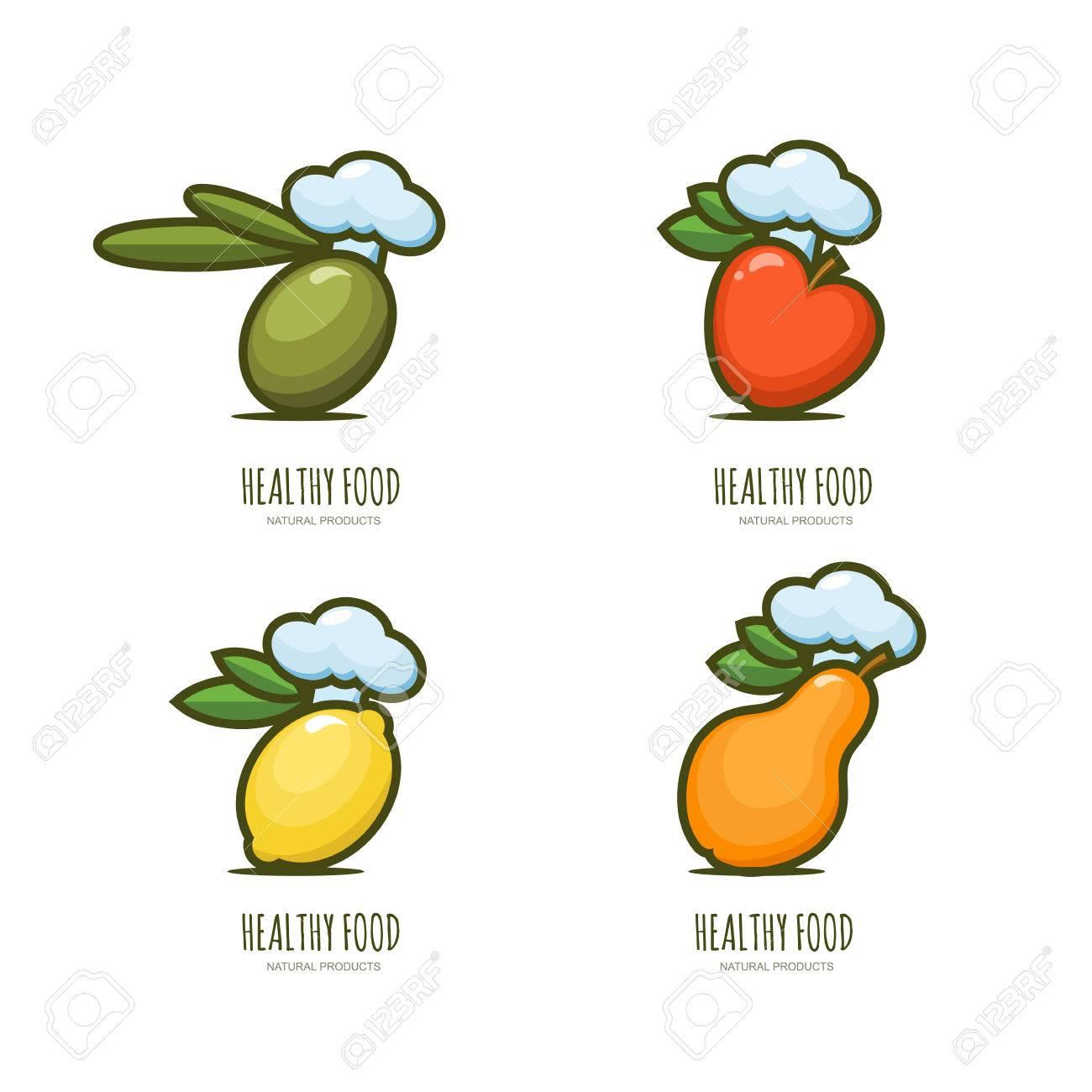 Set Of Vector Healthy Food Emblem, Label Design. Olive, Apple ...