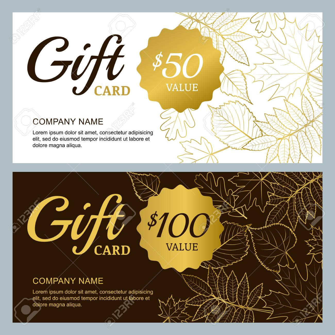 Vector gift voucher template with golden outline fall leaves vector vector gift voucher template with golden outline fall leaves gold black and white autumn holidays cards design concept for gift coupon yelopaper Gallery