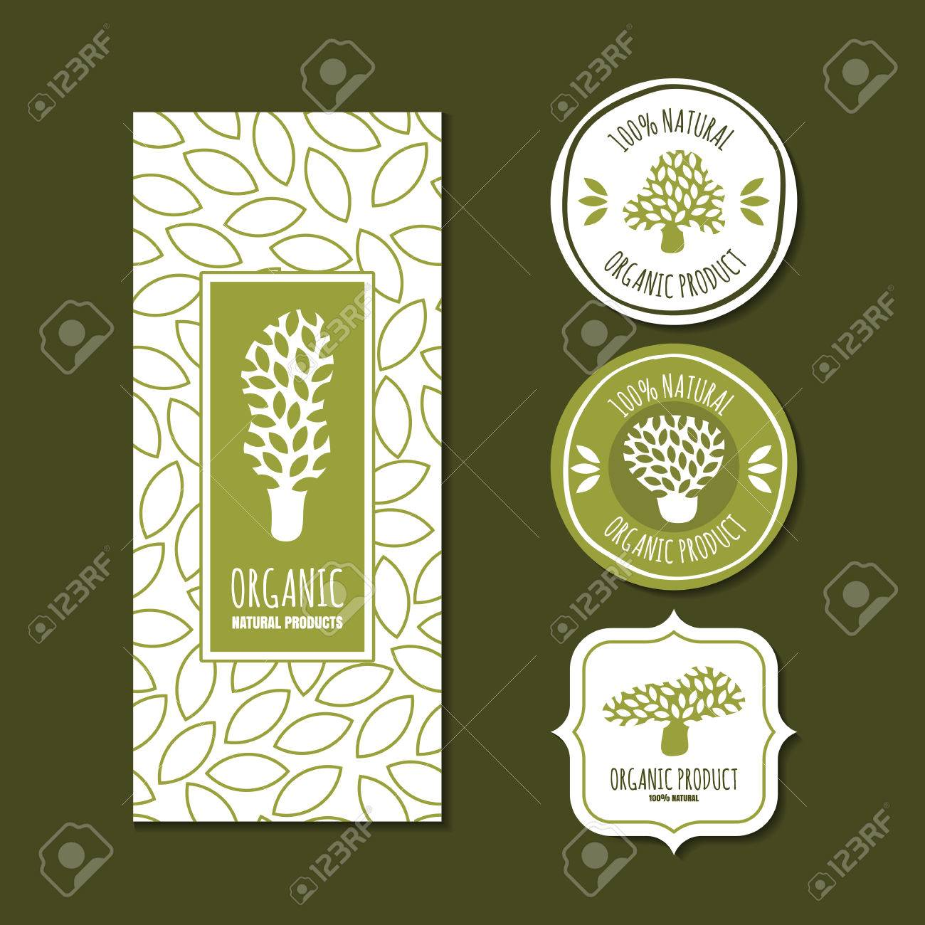 Set Of Vector Organic Labels Badges Stickers Packaging Design