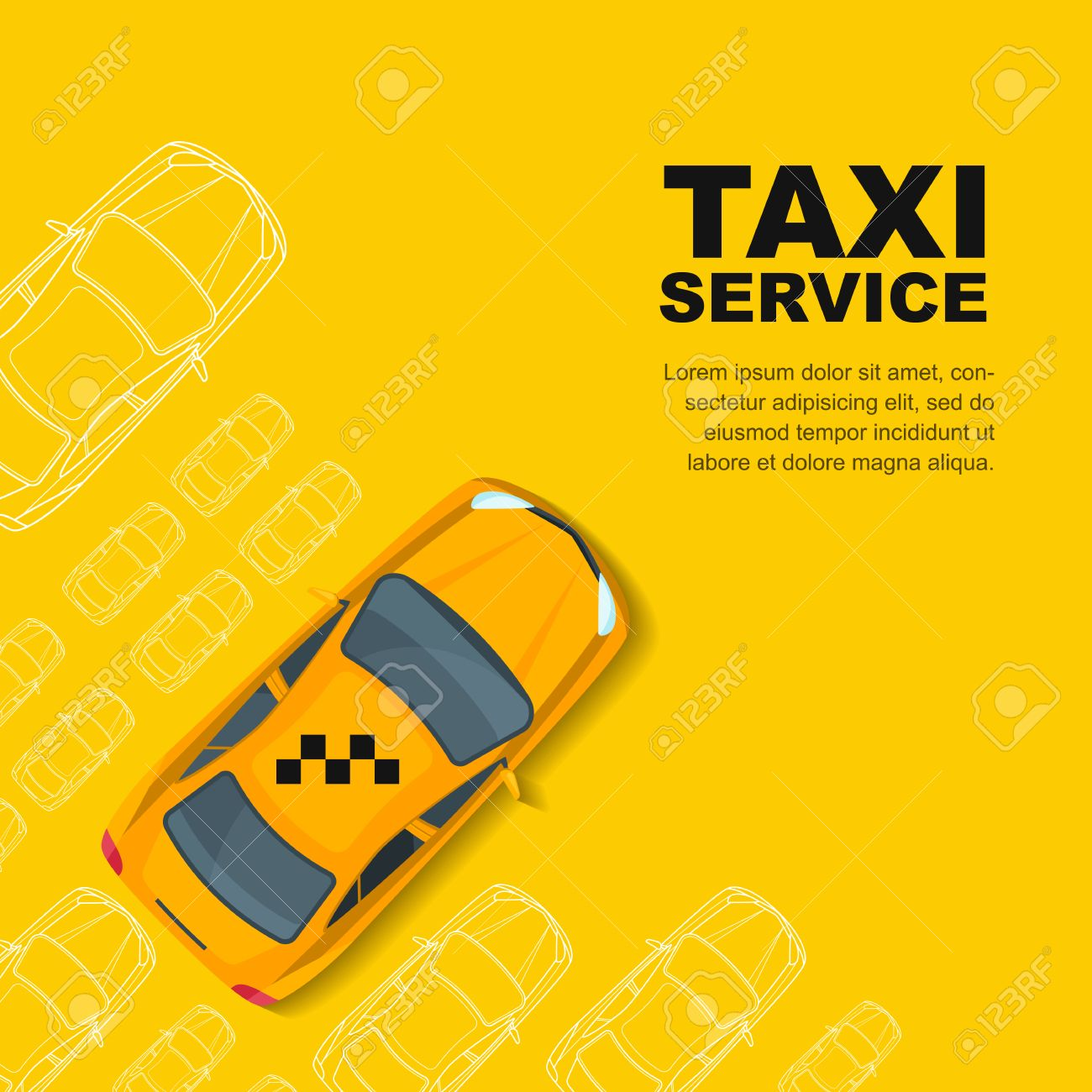 Taxi service concept  yellow , poster or background template
