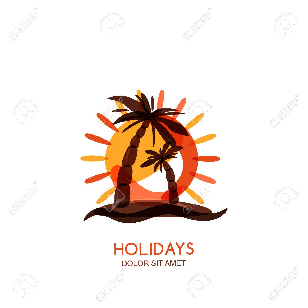 vector logo design template tropical island palms and sunset rh 123rf com free vector sunset free vector sunset beach