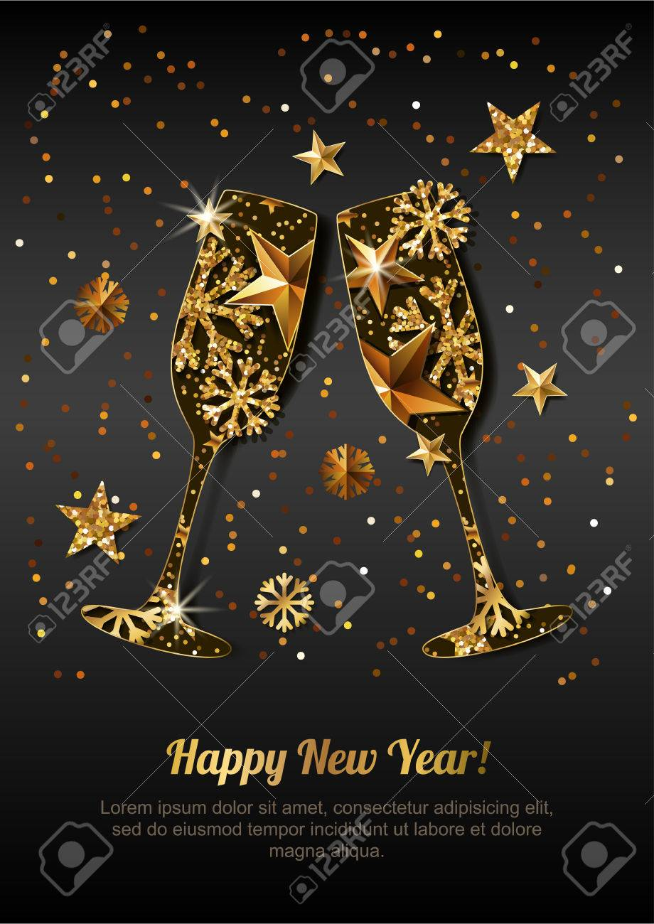 happy new year vector greeting card with gold drinking glasses holiday black glowing background