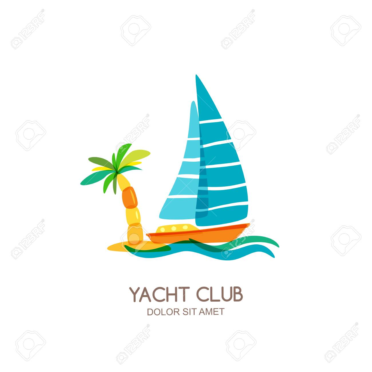 vector yacht club logo design template sailing boat and palm