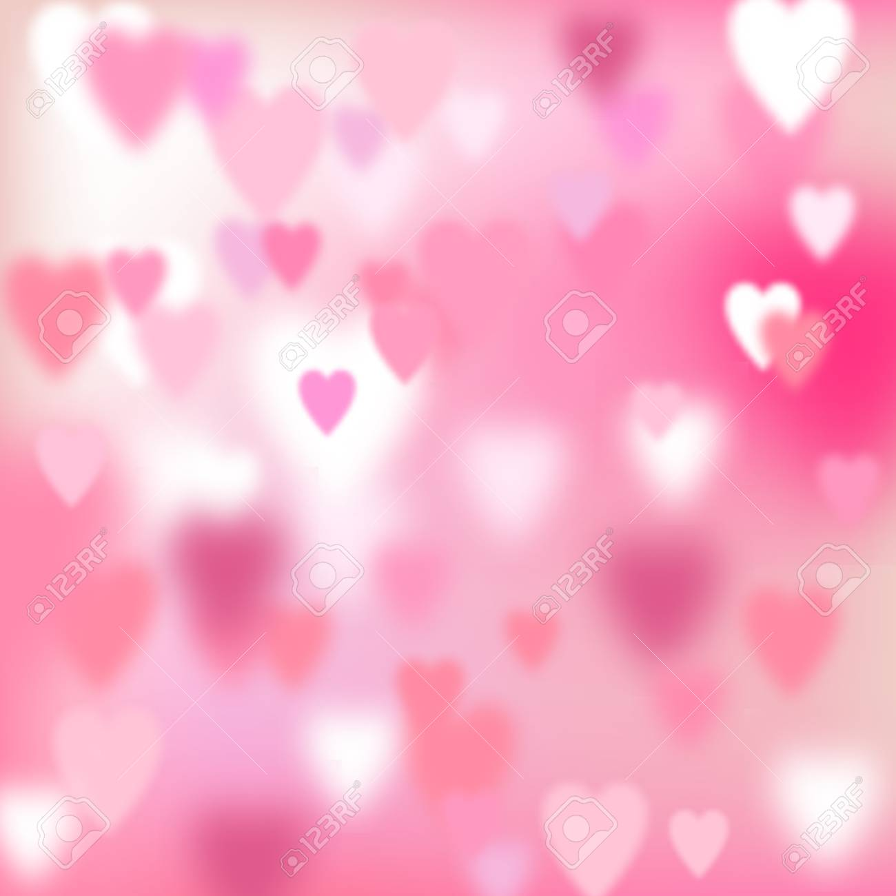 Valentines Day Vector Blurred Love Background With Pink Hearts