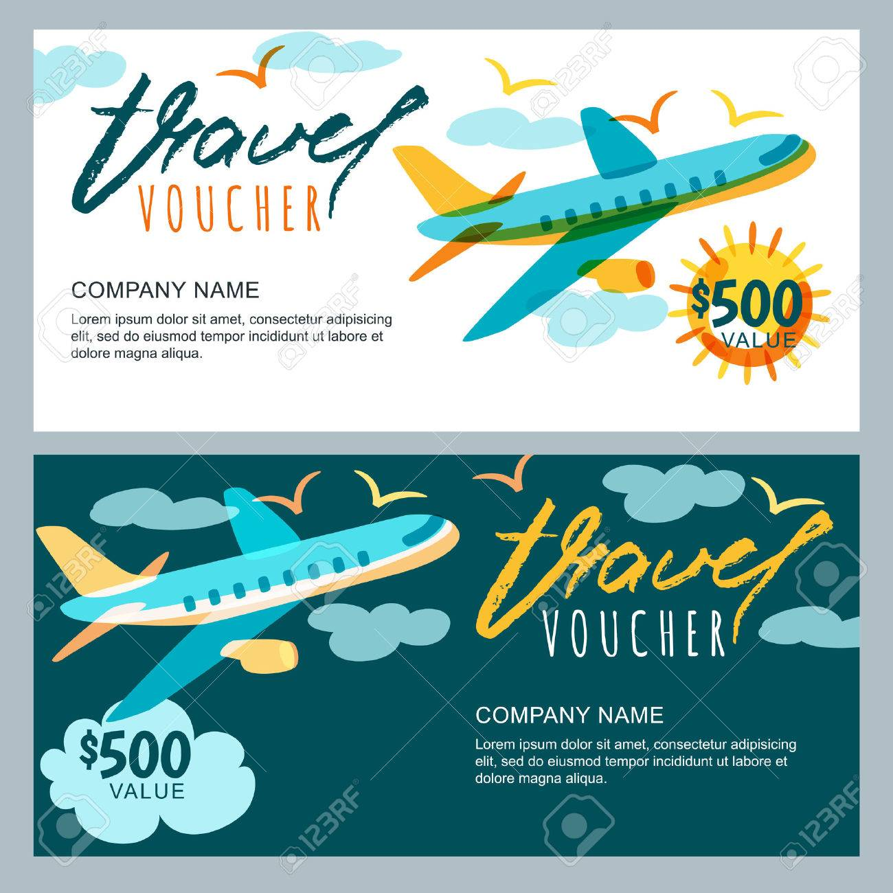 Vector gift travel voucher template multicolor flying airplane vector gift travel voucher template multicolor flying airplane in the sky concept for summer yadclub Image collections
