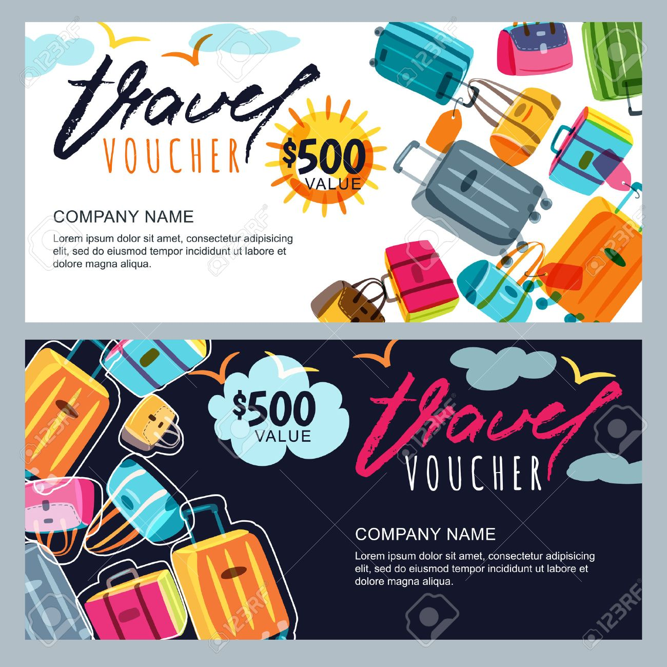 Vector gift travel voucher template multicolor luggage suitcase vector gift travel voucher template multicolor luggage suitcase bags concept for summer yelopaper Choice Image