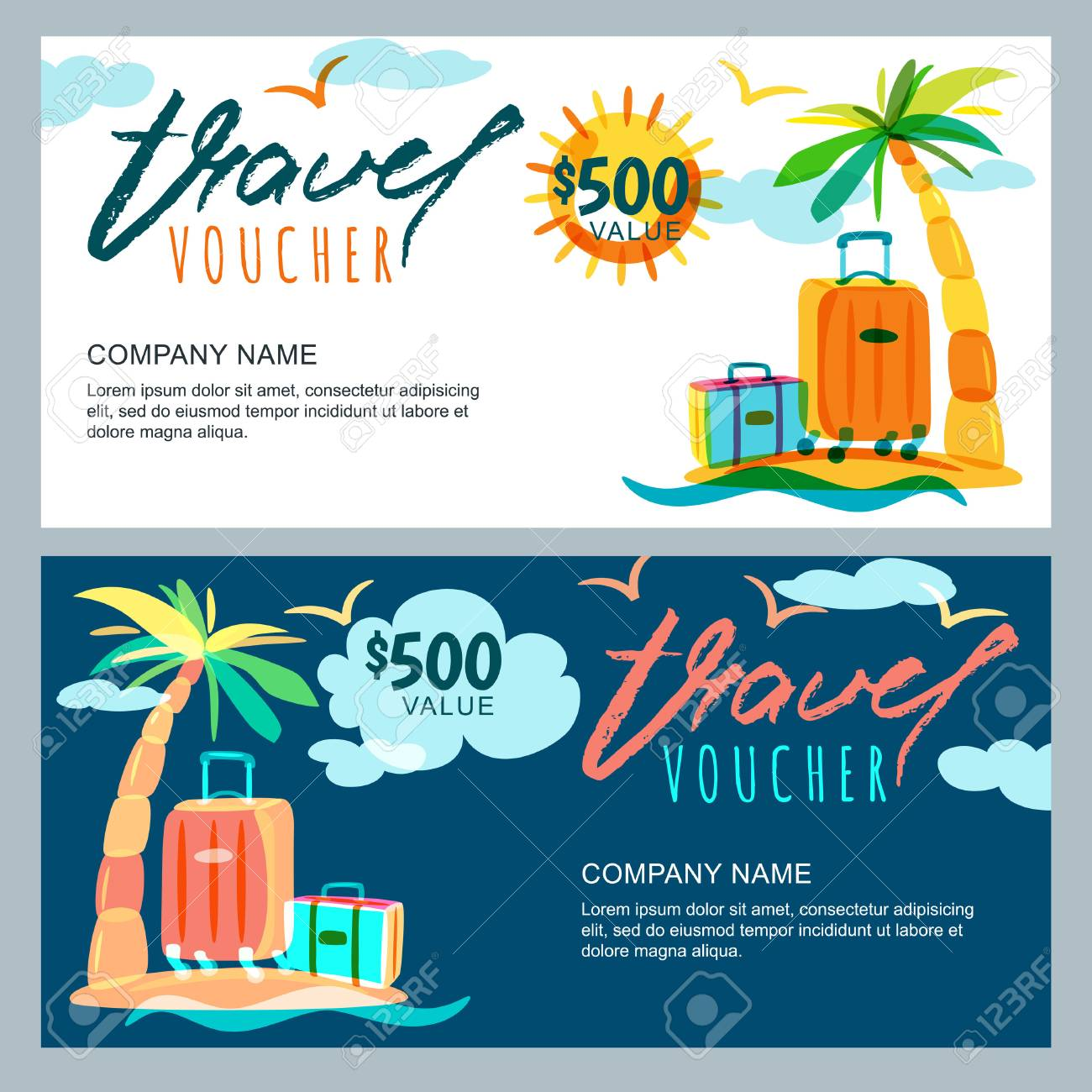 vector vector gift travel voucher template tropical island landscape with palm tree and luggage suitcase concept for summer vacation and travel agency