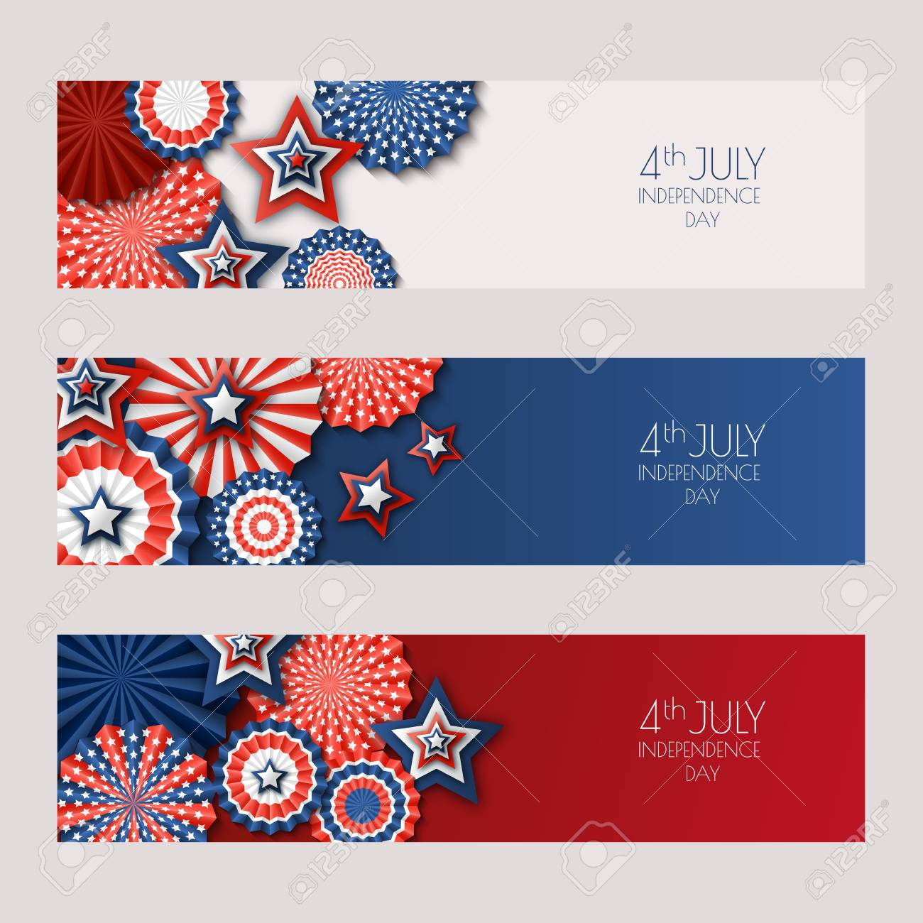 4th of July, USA Independence Day vector banners with paper stars in USA flag colors. Holiday backgrounds set with place for text. Material design for greeting card, banner layout, flyer, poster. - 80336304