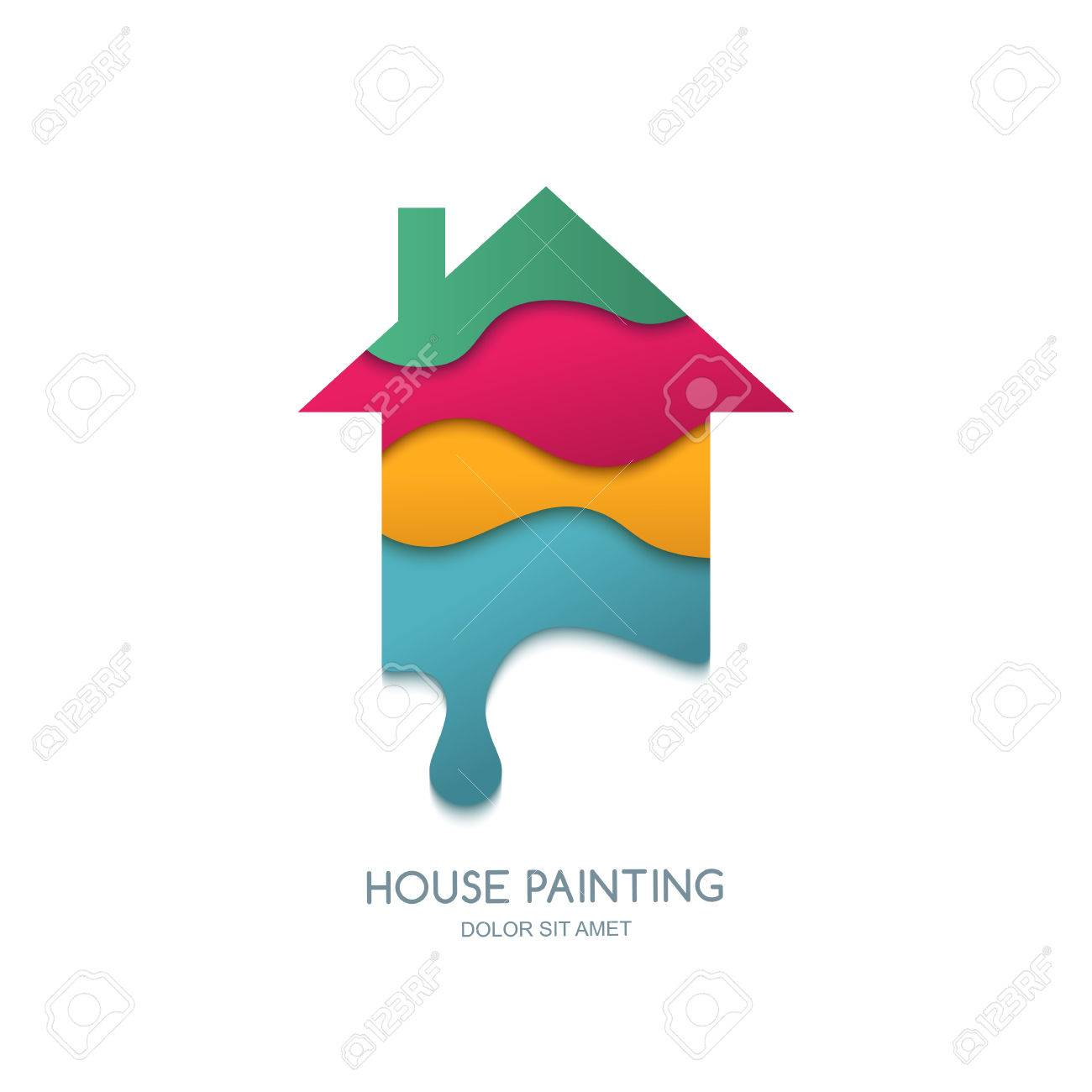 House Painting Service Decor And Repair Vector Logo Design