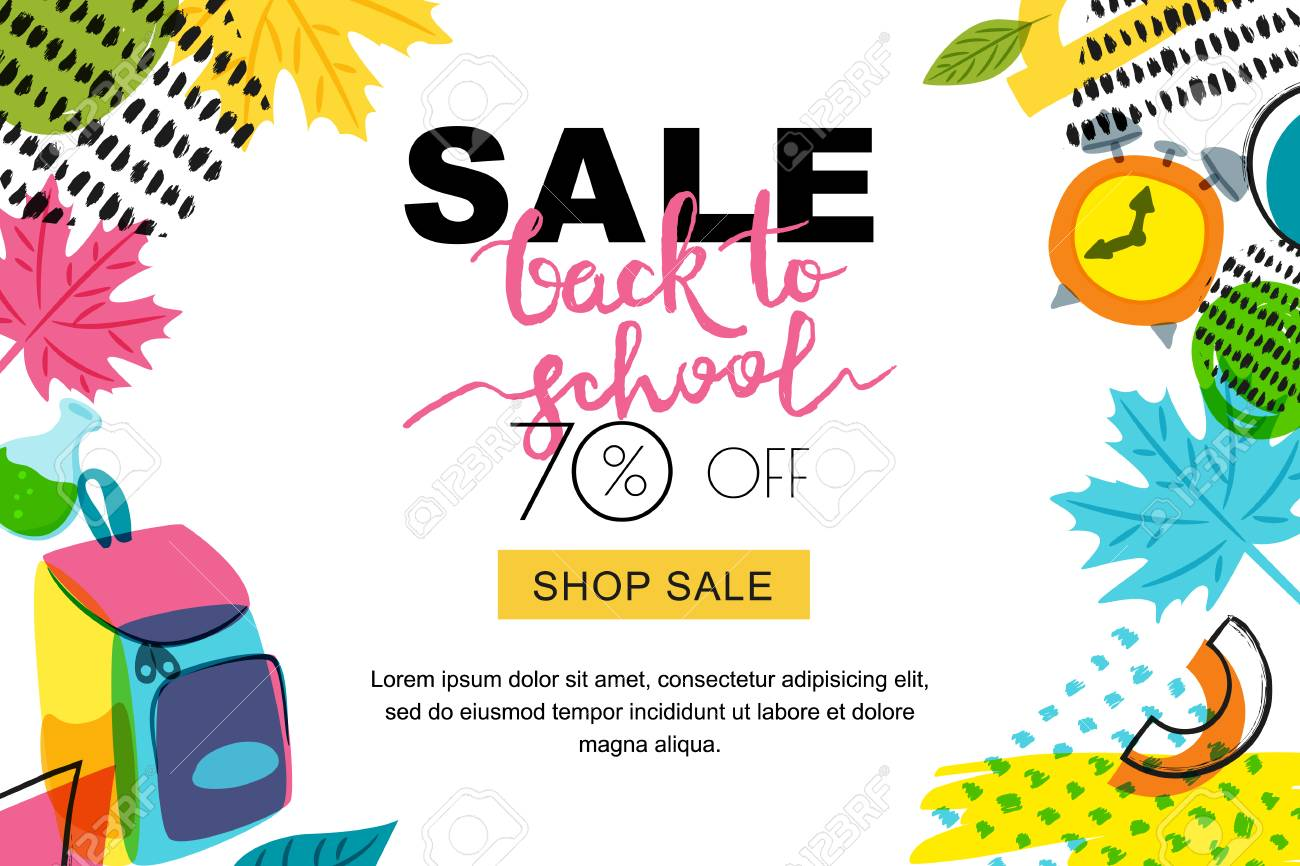 vector back to school sale banner poster background hand drawn