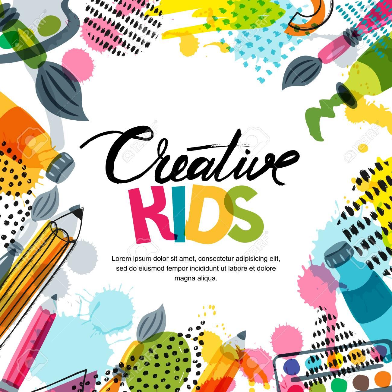 Kids Art, Education, Creativity Class Concept. Vector Banner ...