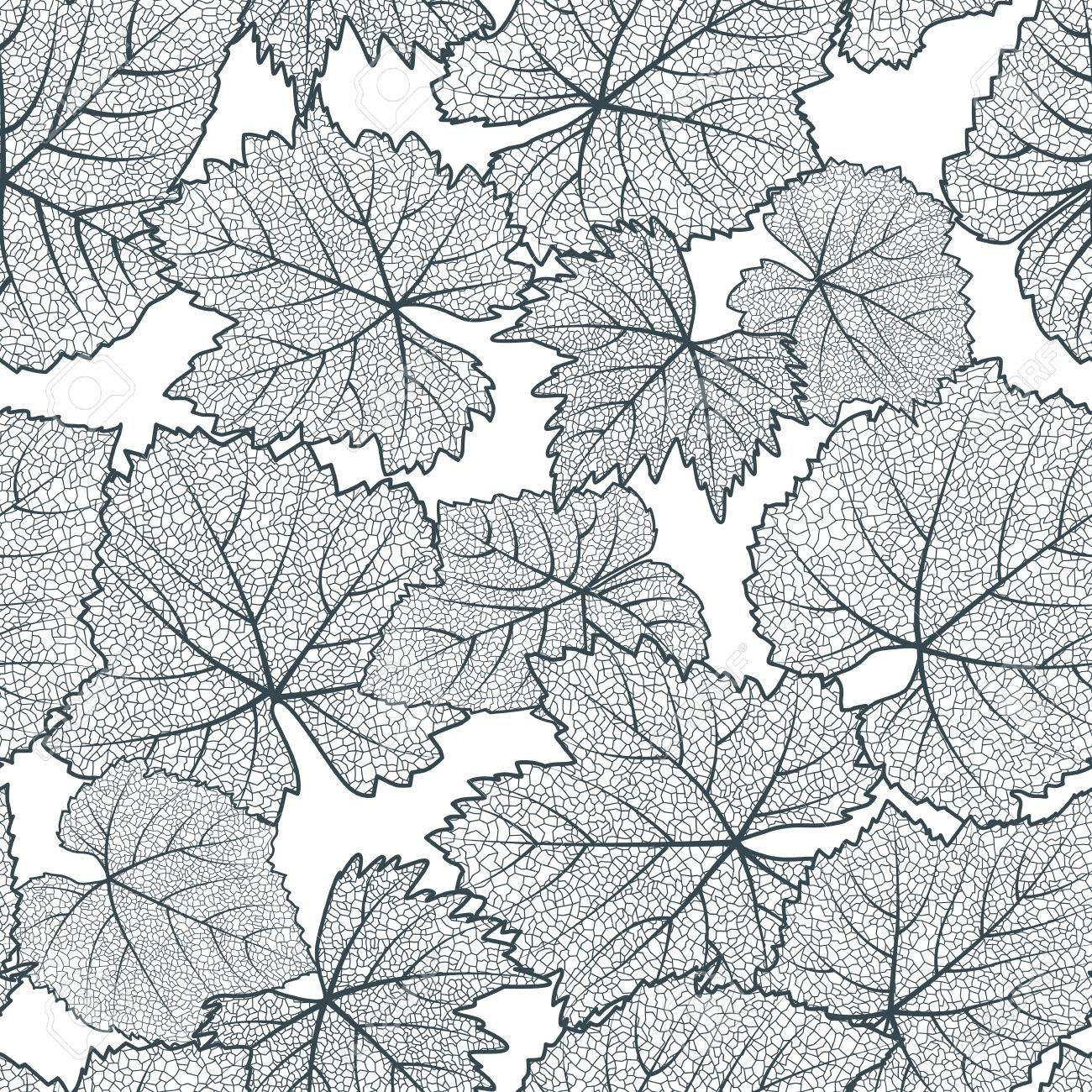 Vector Seamless Pattern With Hand Drawn Grape Textured Leaves ...