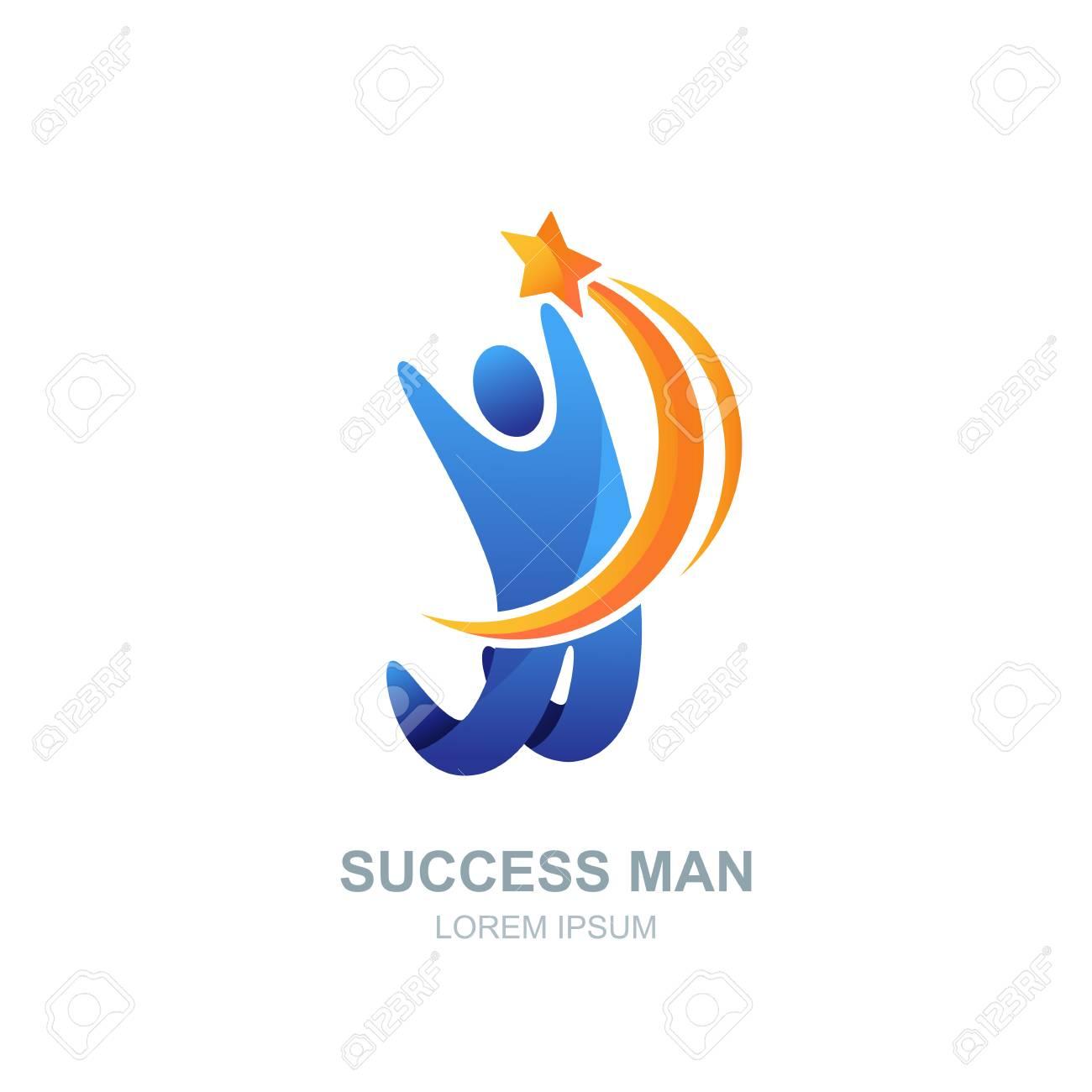 Vector Logo Humano, Icono O Plantilla De Diseño De Emblema. Hombre ...