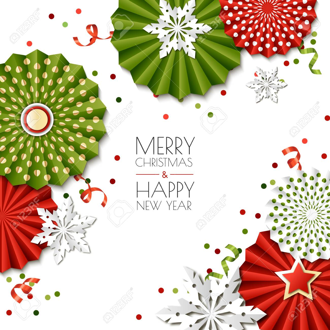 Merry Christmas, Happy New Year Greeting Card. Vector Paper Stars ...