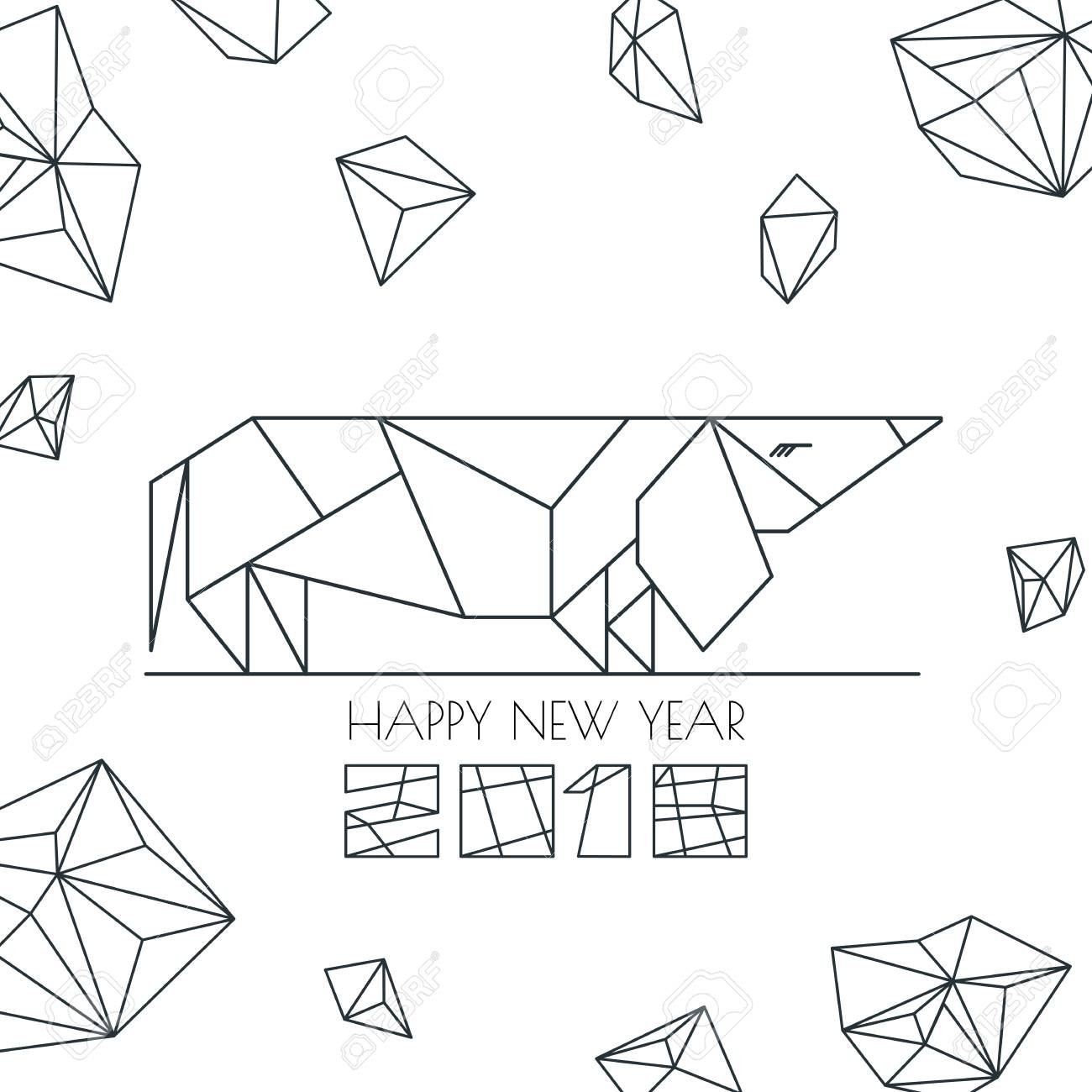 Vector Greeting Card Poster Banner With Outline Dog Modern