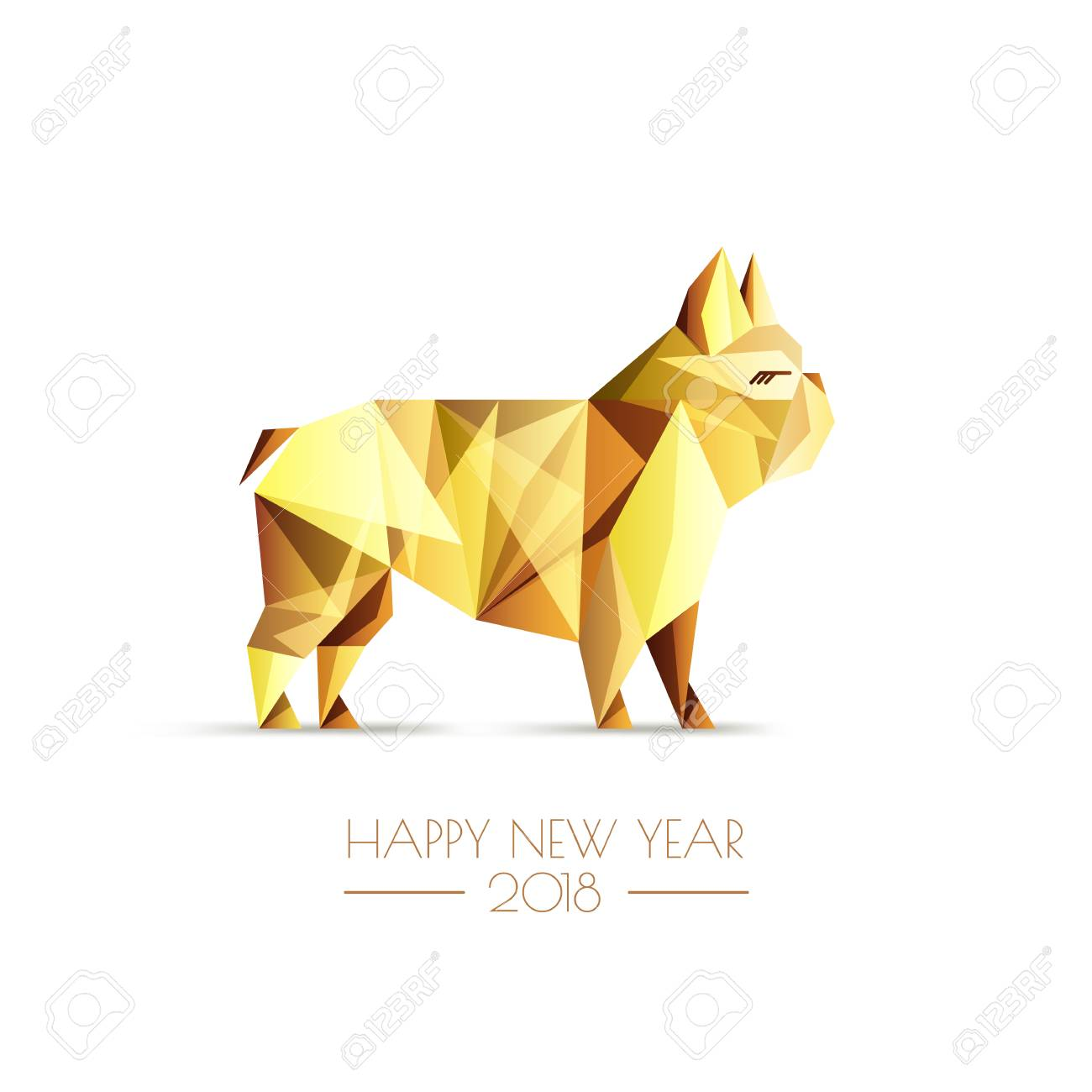 happy chinese new year 2018 vector greeting card poster banner with golden luxury
