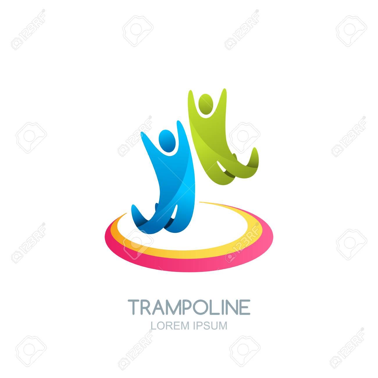 vector trampoline sport logo emblem design template isolated
