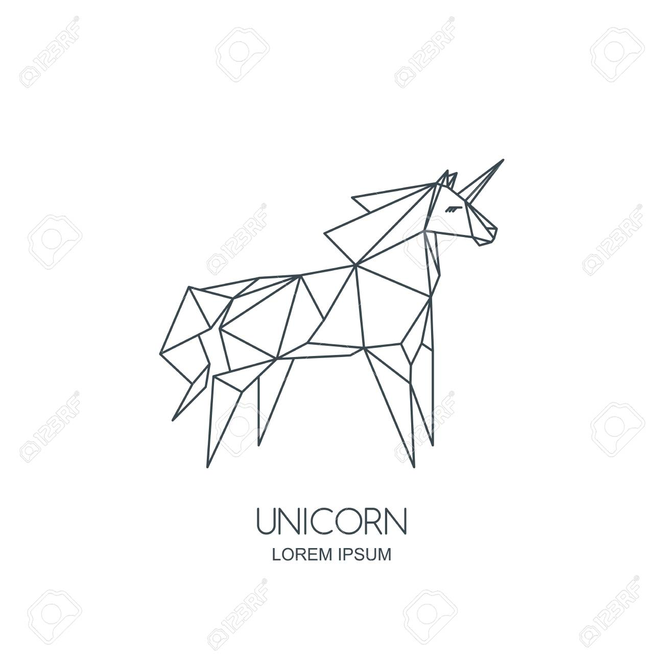 Vector Line Art Unicorn Horse Logo Icon Or Emblem Outline Geometric Royalty Free Cliparts Vectors And Stock Illustration Image 89823138