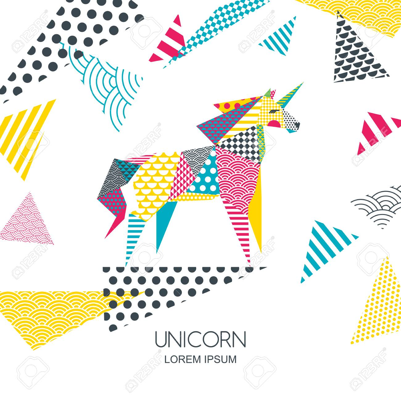 - Vector Color Illustration Of Unicorn Horse With Patchwork