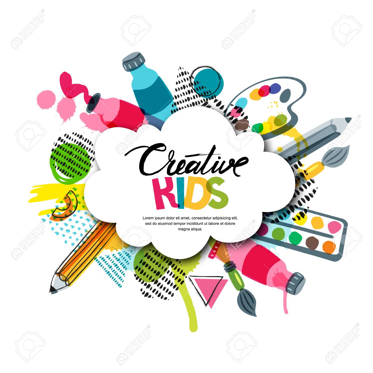 Kids Art Craft Education Creativity Class Concept Vector Banner