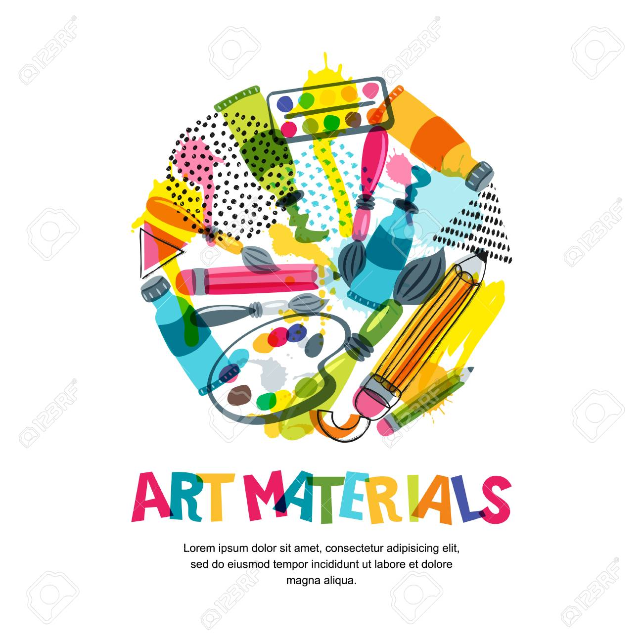 Art Materials For Craft Design And Creativity Vector Doodle