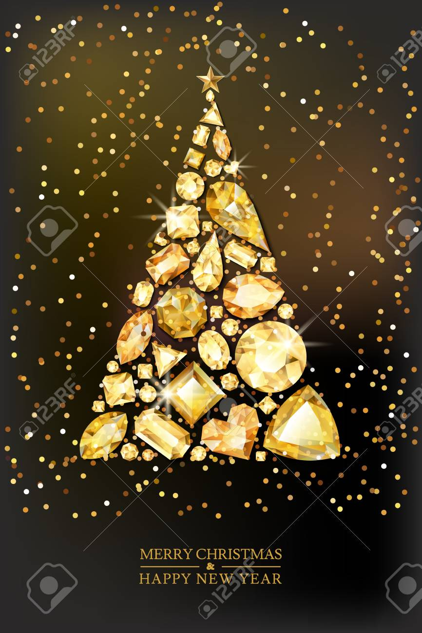 Merry Christmas, Happy New Year greeting card. Vector golden 3d style christmas tree made from gold gems on black background. Holiday banner layout, flyer, poster with various diamonds, jewels. - 91005134