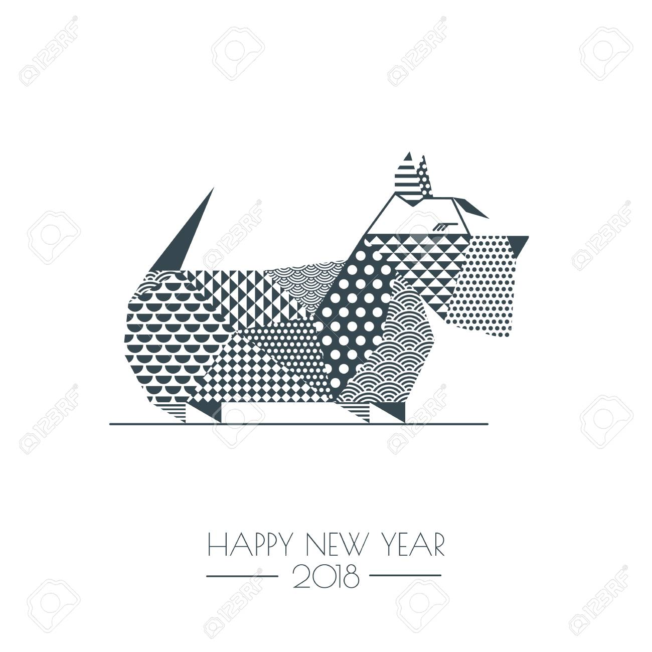 vector vector black white illustration of scottish terrier dog with abstract geometric triangle texture creative new year greeting card poster