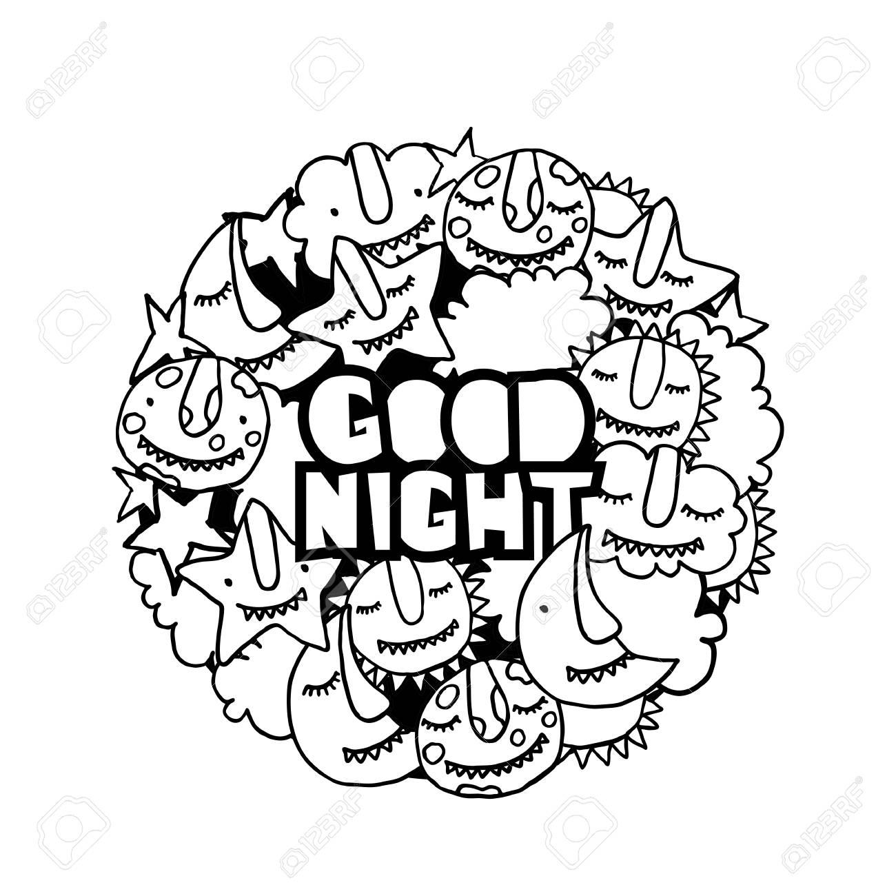 Vector Kids Doodle Good Night Illustration Cute Cartoon Monsters
